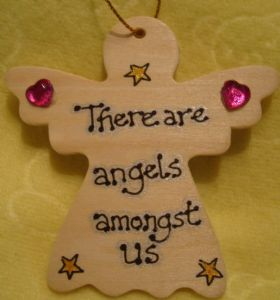 **SALE** was £1.99 There Are Angels Amongst Us Inspirational Angel Wooden Hanger Sign Ready to Despatch Handmade Unique Shabby Chic Item